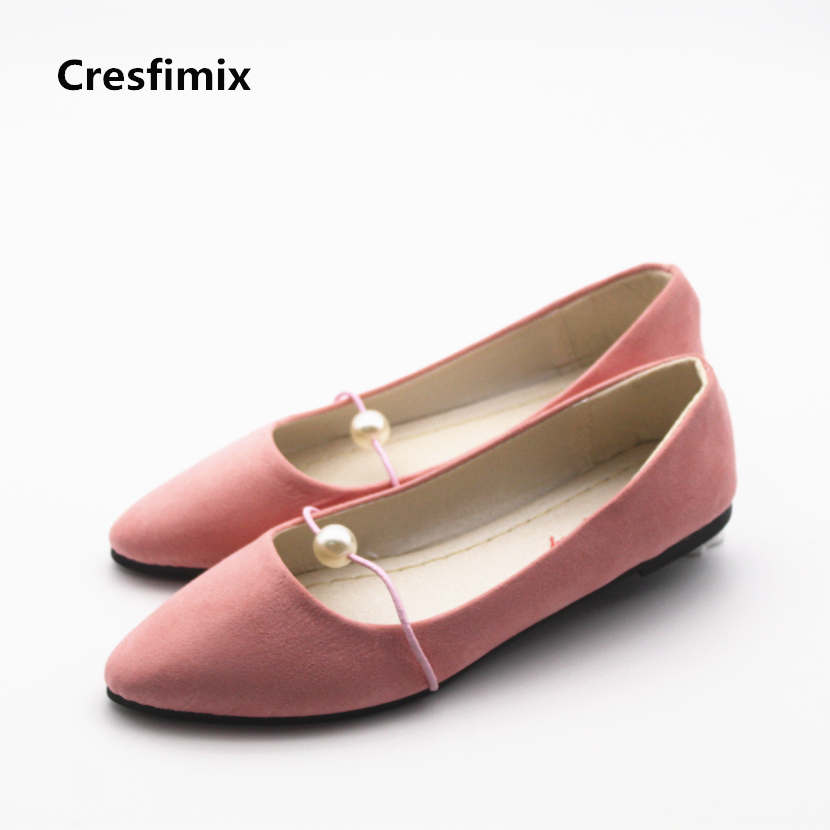 Cresfimix women cute spring summer slip on flat shoes with pearl female casual street flats lady fashion pointed toe shoes spring summer flock women flats shoes female round toe casual shoes lady slip on loafers shoes plus size 40 41 42 43 gh8