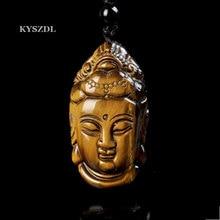 купить 100% Natural Yellow Tiger Eye Jade Pendant Handcarved Guanyin Head Pendant For Lucky Buddha Pendant Man Amulet Charms Free Rope дешево