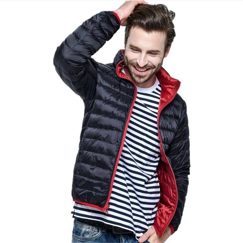 Male Spring Autumn New Ultra Light Duck  Jacket Men Feather Man Winter Double Side Reversible Parka Coats Plus Size Jacket