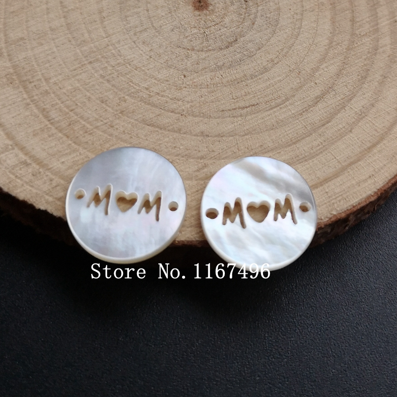 50pcs lot 15mm Natural Letter Mother Pearl Shell Letter MAMA Mother Pearl MOP for Bracelet Necklace