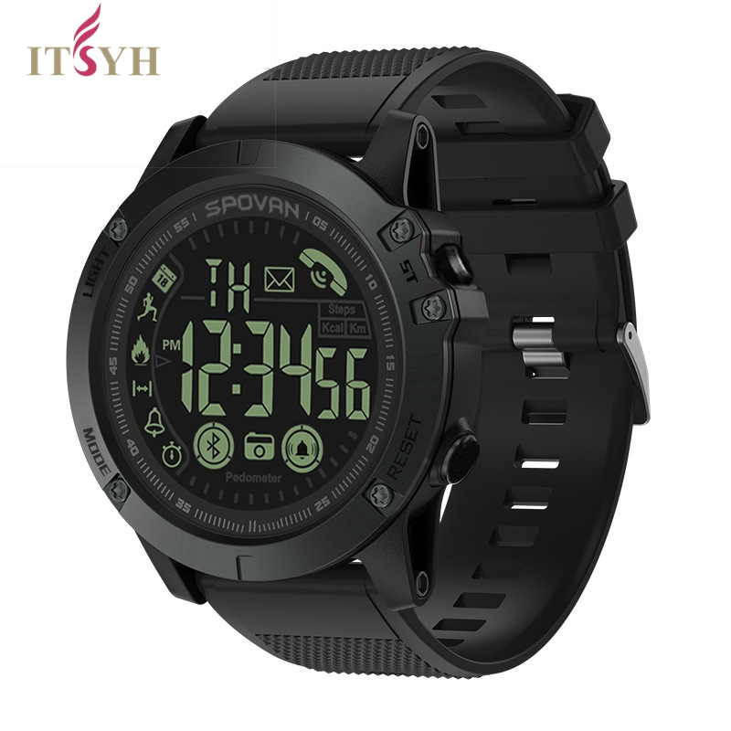 ITSYH Bluetooth Men's Smawrtwatch/Stylish Sports Clock Digital Watch Android IP68 Pedometer Movement Monitoring For smartphone