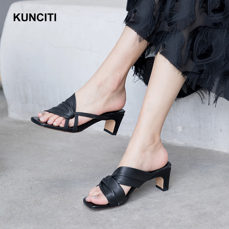 2019 KUNCITI Women Slippers Real Cow Leather Shoes Woman Square Toe Mules Shoes Strange Heels Summer