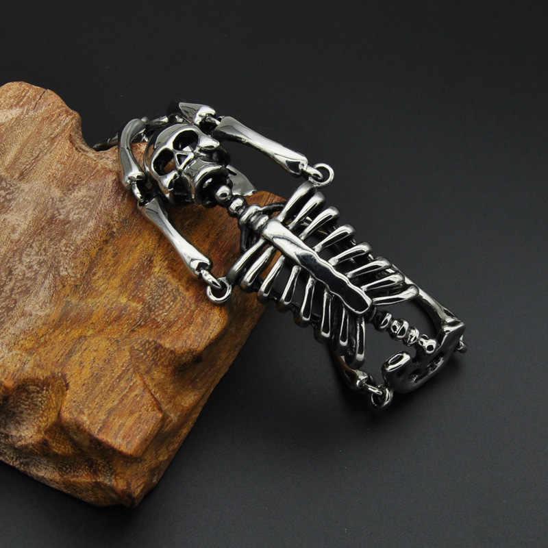 HIP Punk Gothic ze stali nierdzewnej Titanium stalowy szkielet czaszka męskie bransoletki i łańcuszki na rękę bransoletka dla mężczyzn biżuteria prezent