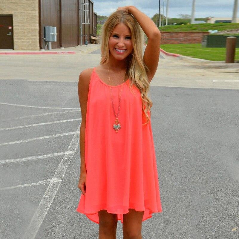 Mujeres beach dress fluorescencia verano vestido de gasa mujer mujeres del estil