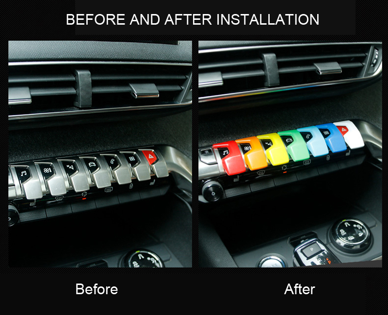 For Peugeot 2016 2017 3008 GT / 2017 2018 5008 GT  7 Colors  Center Console Button Decorative Sticker  Trim 7pcs Car Accessories