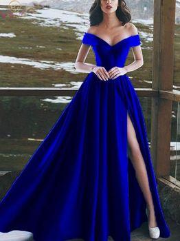 Sexy V Neck Royal Blue Evening Dresses A Line Long Satin Off Shoulder robe de soiree Floor Length Split Prom Formal Party Gowns