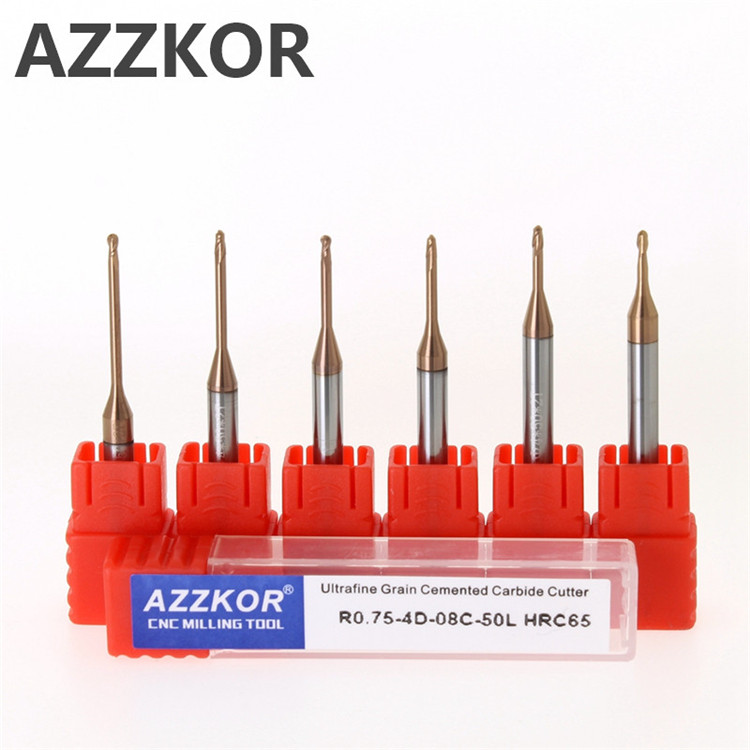 AZZKOR Deep Groove Alloy Ball Milling Cutter Avoiding Long Neck Cutting CNC  2F Processing For Metal