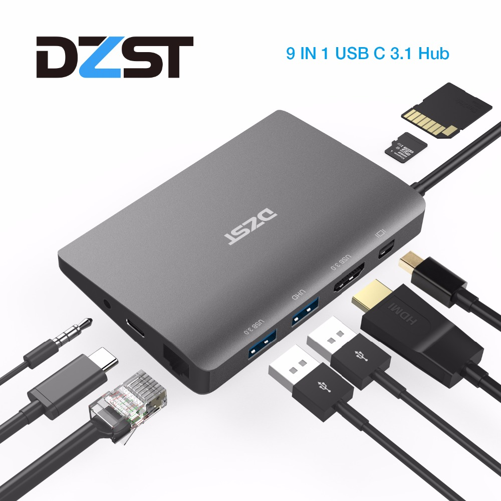 цена на DZLST USB C Laptop Docking Station USB C to Mini DP RJ45 Gigabit LAN HDMI 4K USB 3.0 Type C PD For Macbook Pro SAMSUNG S9/S8+