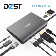 цена на DZLST USB C Laptop Docking Station USB C to Mini DP RJ45 Gigabit LAN HDMI 4K USB 3.0 Type C PD For Macbook Pro SAMSUNG S9/S8+
