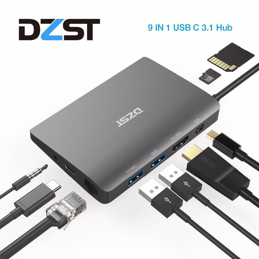 DZLST USB C Station d'accueil pour ordinateur portable USB C à Mini DP RJ45 Gigabit LAN HDMI 4K USB 3.0 Type C PD pour Macbook Pro SAMSUNG S9/S8 +