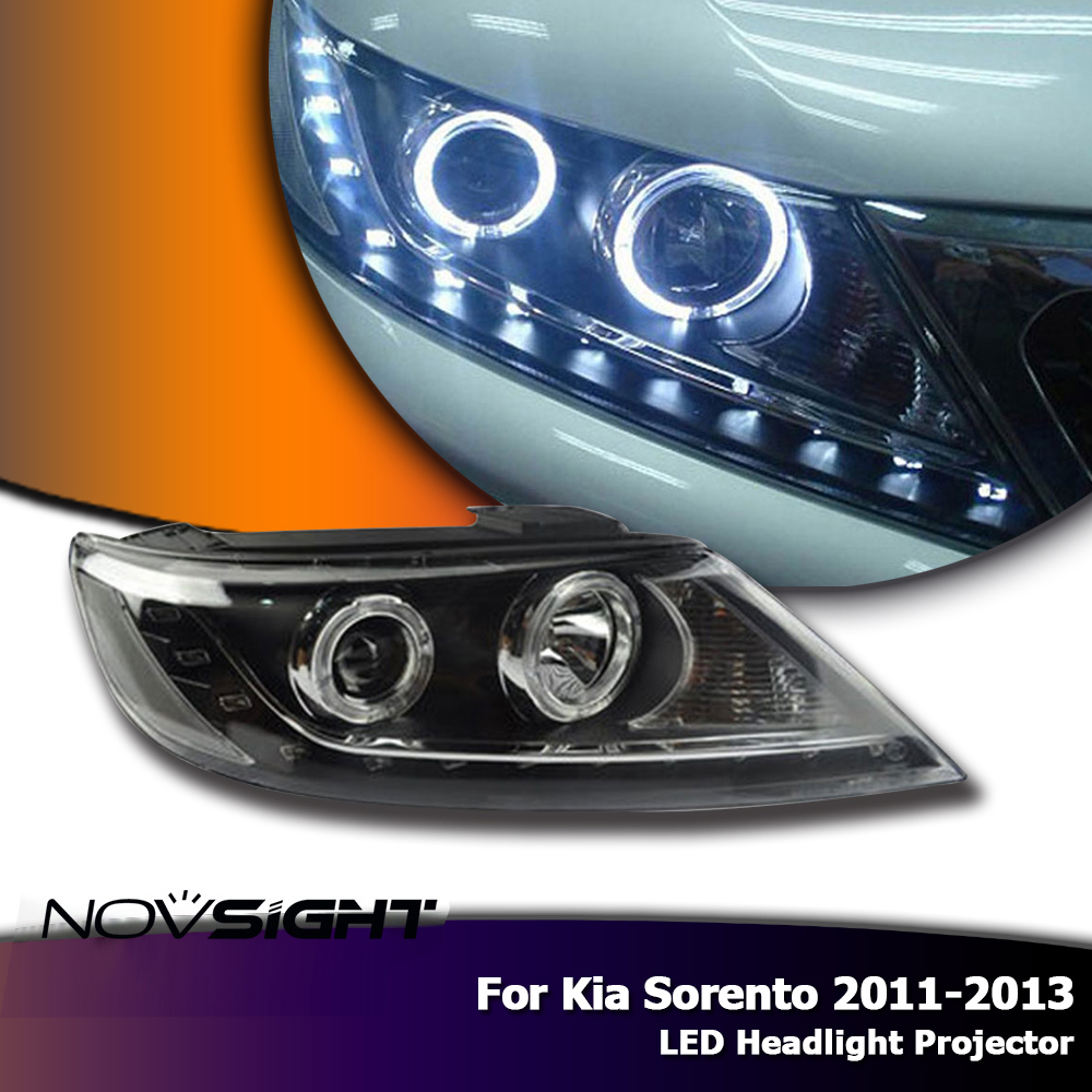 NOVSIGHT 2X Auto Car LED Headlight Assembly Projector Halo Ring DRL Fog Light For Kia Sorento 2011-2013 2pcs car led headlight kit led bulb d33 h11 free canbus auto led lamps white headlamp with yellow light fog light for citroen c4
