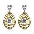 Top Luxury Crystal Zircon Earrings Woman/Girl Gold Plated Jewelry Fashion Female Wedding Long Big Drop Earrings For Women