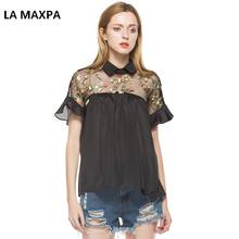 Summer Tops Black Flower Embroidered Sheer Neck Ruffle Cuff Tie Back Top Woman Short Sleeve Vintage Blouse S-XL 9019