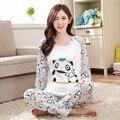LIKEPINK 2017 Mulheres Pijama Define Moda O-pescoço Manga Longa Pijamas Homewear Sleepwear Panda Pijamas Mujer Roupão de Microfibra
