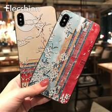 Funda mate en relieve 3D para iPhone 11 pro XR Xs Max silicona suave TPU moda estilo chino fundas para iPhone X XS 7 8 Plus(China)