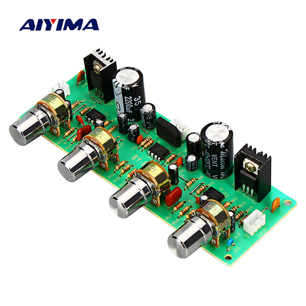 Aiyima NE4558 OP AMP preamplificador Placa de tono Preamp trible Bass Balance volumen Control de tono tablero AC12-15V