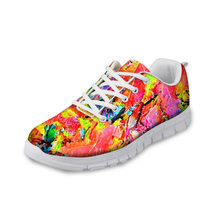 Купить с кэшбэком NOISYDESIGNS Ladies Casual flat Shoes Autumn Breathable Comfortable Flat Shoes Women Lace-up Leisure Shoes for Female Zapatos