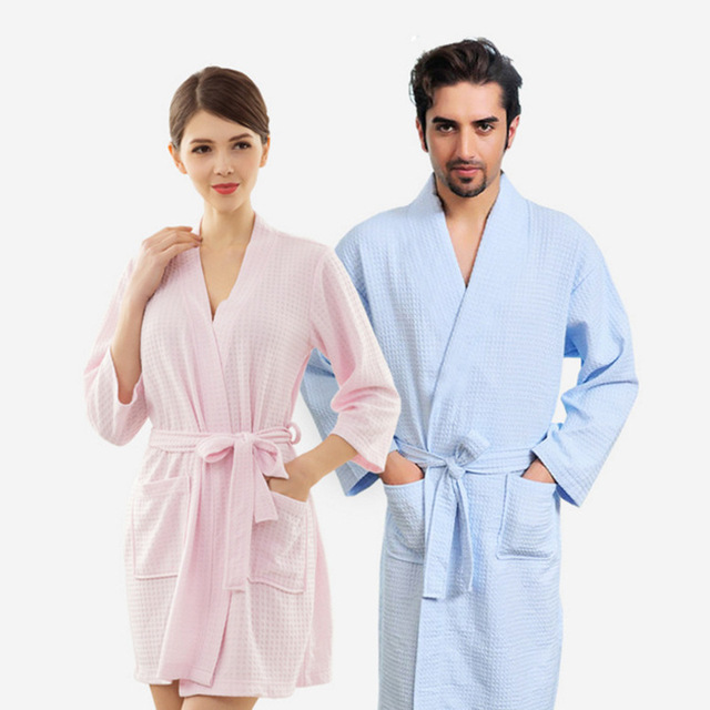 ca8c0f34ed Towel Bath Robe Dressing Gown for Women Men Sleeve Solid Cotton Waffle  Bathrobe Peignoir Nightgowns Robes