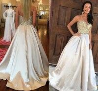 2019 Junoesque платья подружки невесты вырез сердечком без бретелек из бисера на молнии развертки Поезд линии для выпускного бала
