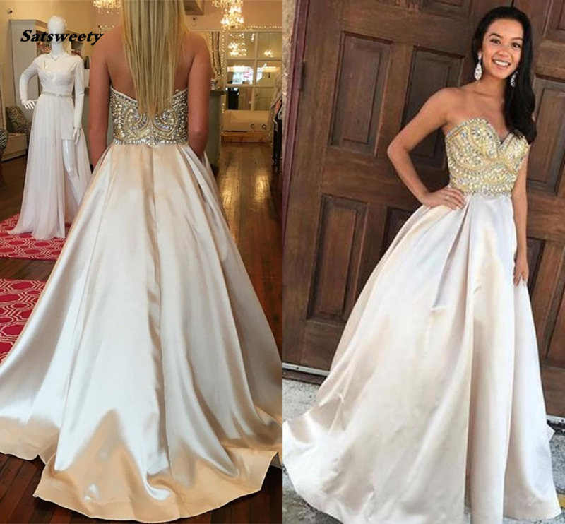 2019 Junoesque   Bridesmaid     Dresses   Sweetheart Beaded Strapless Zipper Sweep Train A Line Prom Gowns
