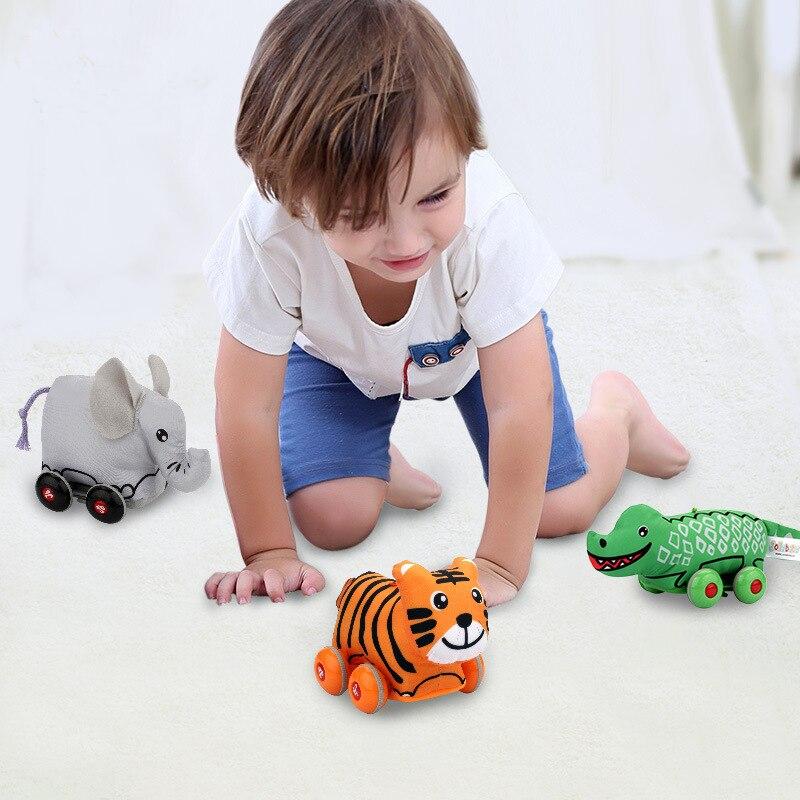 Popular dos desenhos animados animais puxar para trás modelos de carro brinquedos para crianças desenvolvimento mini deslizante puxar para trás brinquedo do divertimento do carro