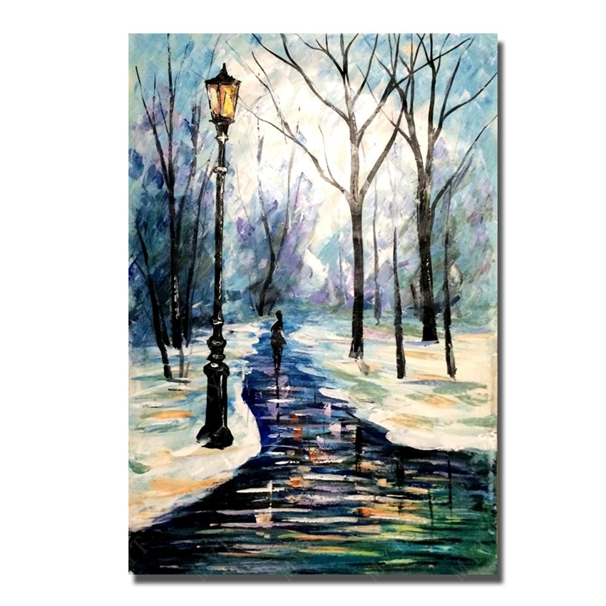 100 Hand Drawn City At Night 3 Knife Painting Modern: 100% Hand Painted Winter River Knife Design Modern Living