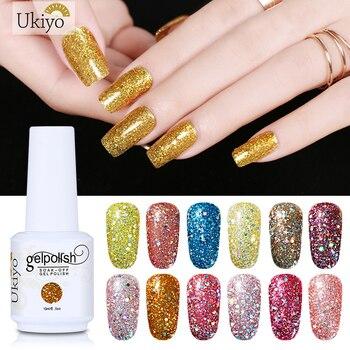 Ukiyo 15ml Bling Color esmalte de uñas de Gel UV remoje Semi permanente pintura Gellak híbrido barniz esmalte suerte laca 108 colores