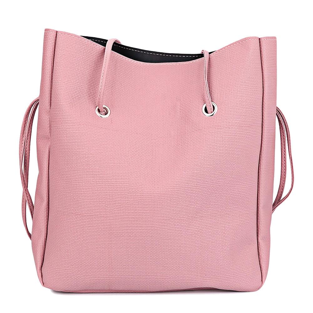 Hot Fashion 2pcs Leather Pure Color Multifunctional Strap Women Shoulder Bag Bucket Bag Brand Mcvilla