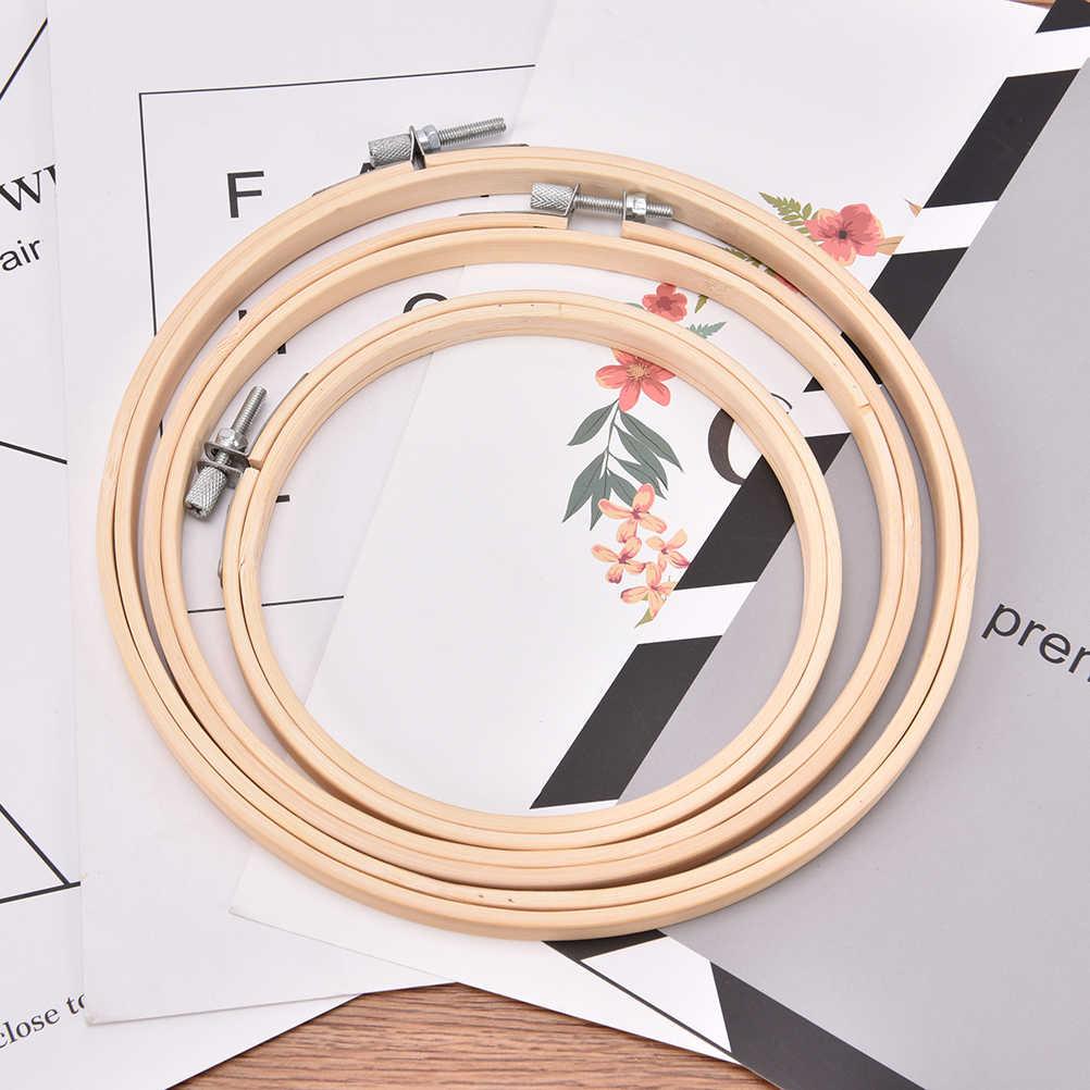 Conjunto de Marco con forma de aro bordado de madera y bambú, anillos de Aro para manualidades con aguja de punto de cruz 13/15/18/20/23/26/30/34cm