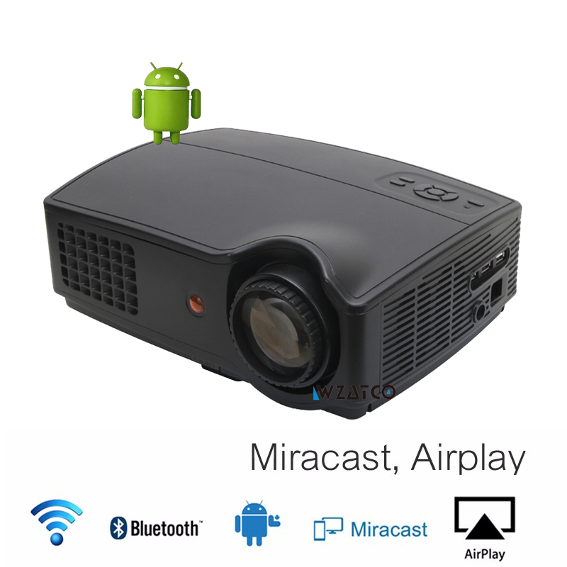 WZATCO 4500lumens Mini portable TV projector proyector beamer hd LED LCD android 4.4 wifi Support bluetooth for home theater latimer alex the boy who cried ninja