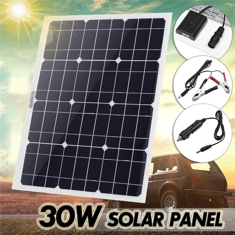 30 W 12 V/5 V DC panneau solaire Sunpower batterie USB pour téléphone lumière voiture chargeur étanche maison système solaire