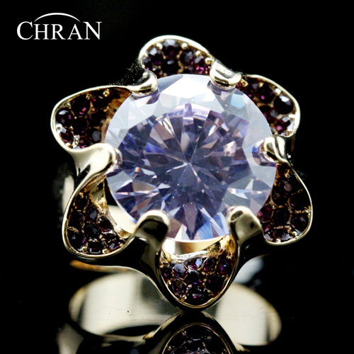 Chran Gold Color SWA ELEMENTS Austrian Crystal Purple Flower Design Cubic Zirconia Ring Women Jewelry FREE