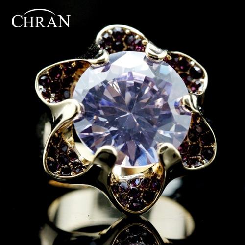 Chran Gold Color SWA ELEMENTS Austrian Crystal Purple Flower Design Cubic Zirconia Ring Women Jewelry FREE SHIPPING DDFJRIL1002