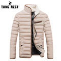 TANGNEST 2016 Winter Fashion Men Jacket Casual Striped Solid Color Men Coat Thick Warm Stand Collar Jacket Men 4 Colors MWM1359