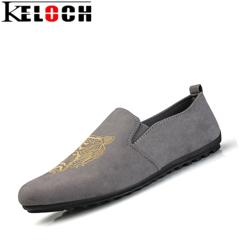 Keloch Fashion Suede Men Shoes Soft Leather Flat Shoes Summer Casual Slip On Moccasins Men Loafers Hight Quality Driving Flats new casual moccasins men loafers genuine leather slip on men flats hight quality driving men shoes sapatos masculinos