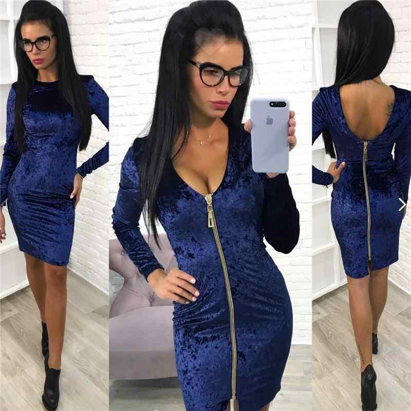 657a9d91634 ... 2017 новое женское сексуальное бархатное платье на молнии с длинным  рукавом сексуальное черное платье Клубная вечерние ...