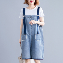 Summer Casual Backless Pocket Denim Playsuits For Women 2019 Loose Rompers Female Jumpsuit Shorts