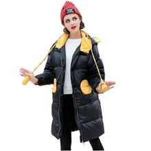 Women Winter Down Jacket New Fashion Hooded Medium long Coat Long sleeve Casual Loose Plus size