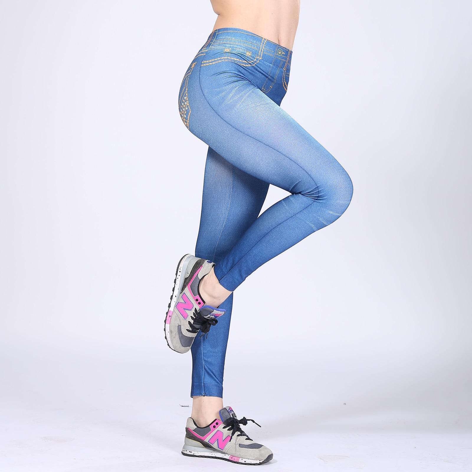 Analytisch Faux Denim Jeans Leggings Gelbe Linie Print Leggings Frauen Nachahmung Jean Slim Fitness Leggings Elastische Sport Workout Leggins HöChste Bequemlichkeit Leggings