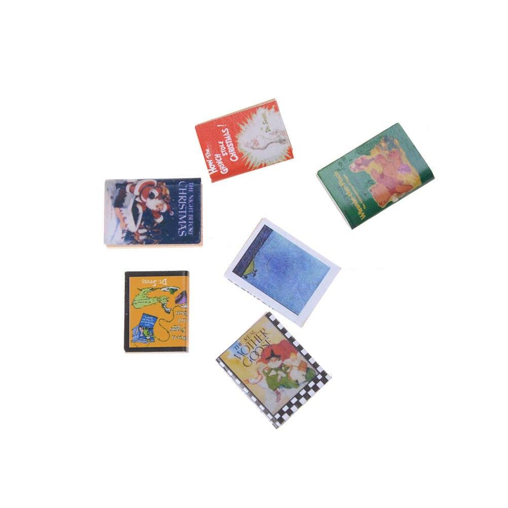 6 sztuk/partia miniaturowy domek dla lalek książki klasyczne udawaj, że bawisz się zabawkowe meble kreatywny urocze prezenty dla dzieci 1/12 kolorowe drewniane