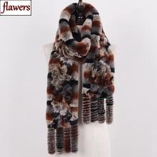 New Arrival Russian Women Real Rex Rabbit Fur Scarves Ladies Winter Natural Rex Rabbit Fur Scarves Knit Tassel Real Fur Shawls