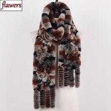 New Arrival rosyjski kobiety prawdziwe futro królika Rex szaliki damskie zimowe naturalne Rex Rabbit Fur szaliki dzianiny Tassel prawdziwe futro szale