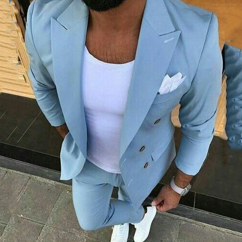 Summer White Men Suits Pants Blue Groom Wedding Tuxedos Red Man Blazers Ivory Costume Homme Slim Fit Terno Masculino 2 Piece