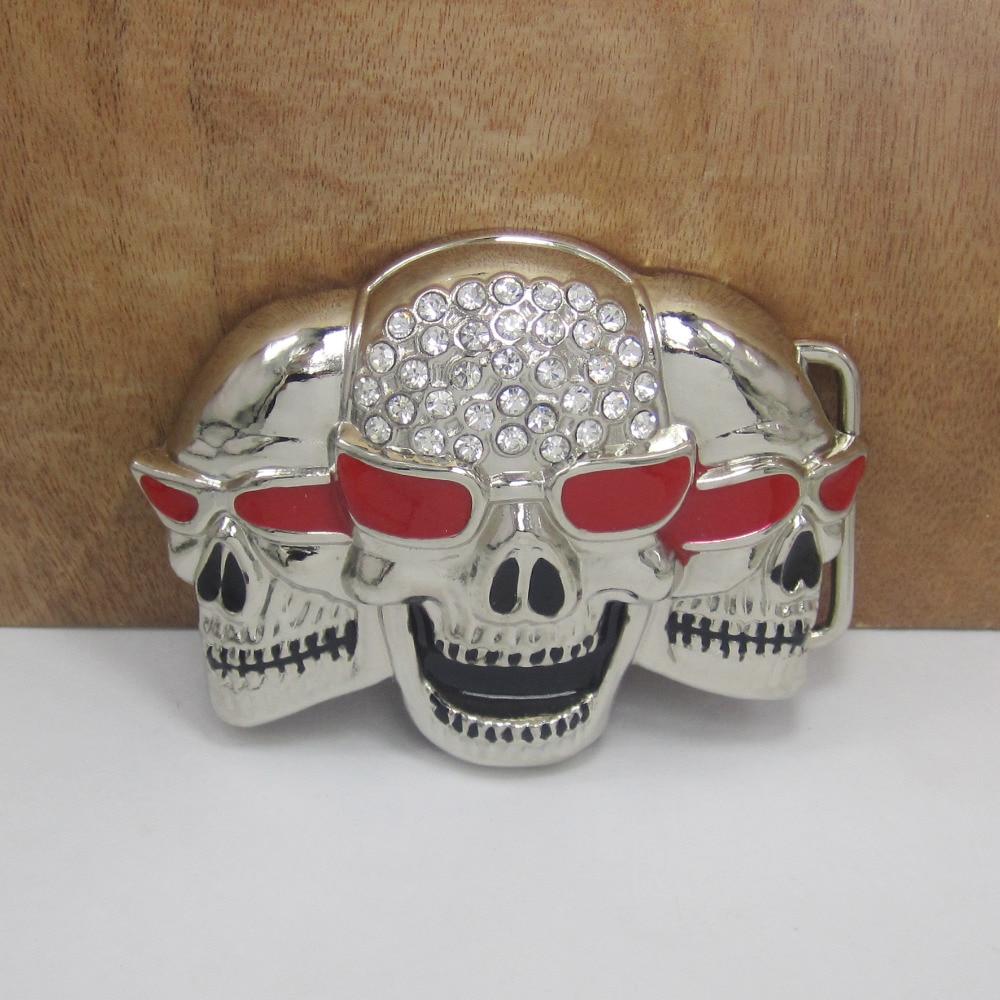 BuckleClub venta al por mayor de aleación de zinc de diamantes de imitación cráneo vaqueros regalo de hebilla de cinturón para hombres FP-01341 acabado plata 4 cm ancho lazo