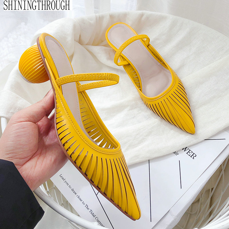 Hollow Women Mules Genuine Leather Outdoor High Heels Slippers Elegant Party Pointed Toe Summer Shoes woman