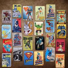 Desenhos animados em quadrinhos herói casa bar vintage sinais de metal decoração da casa do vintage estanho sinais pub vintage placas decorativas metal arte da parede