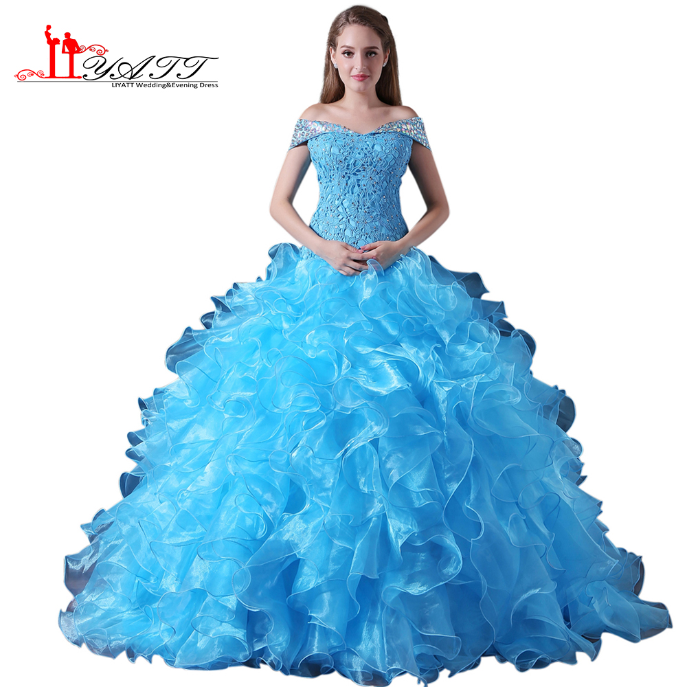 Blue Ball Gown Cheap Quinceanera Dresses Off The Shoulder