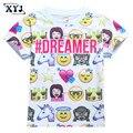2017 Crianças Emoji Shirt Tops de Verão Para Meninos Meninas Crianças T-shirt Sorriso Rosto Imprimir T Para Crianças Roupas Das Meninas Dos Meninos topos