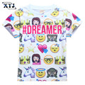 2017 Kids Emoji Shirt Summer Tops For Boys Children Girls T-shirt Smile Face Print Tees For Children Boys Girls Clothing Tops