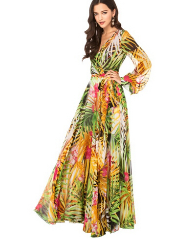 Plus Size Women Floral Chiffon Maxi Long Dresses 6xl Summer Beach